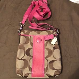 Brown and pink Coach crossbody